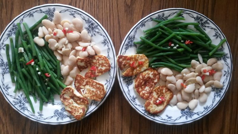 Halloumi and Beans Dish